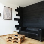 Charred wood and 3D panels, show-room located FR51390